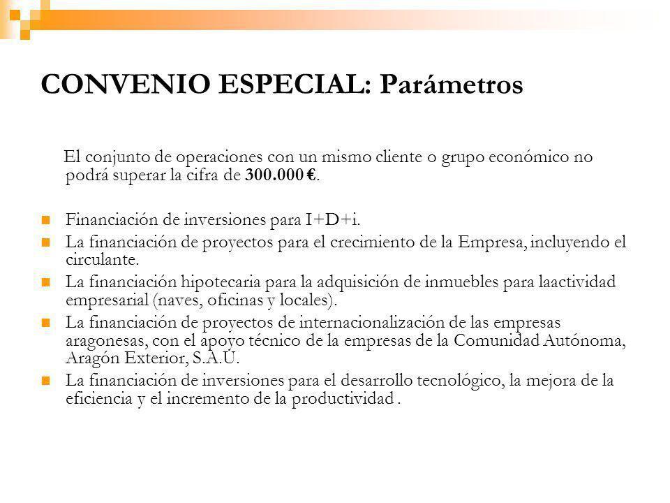 CONVENIO ESPECIAL: Parámetros El conjunto de operaciones con un mismo cliente o grupo económico no podrá superar la cifra de 300.000.