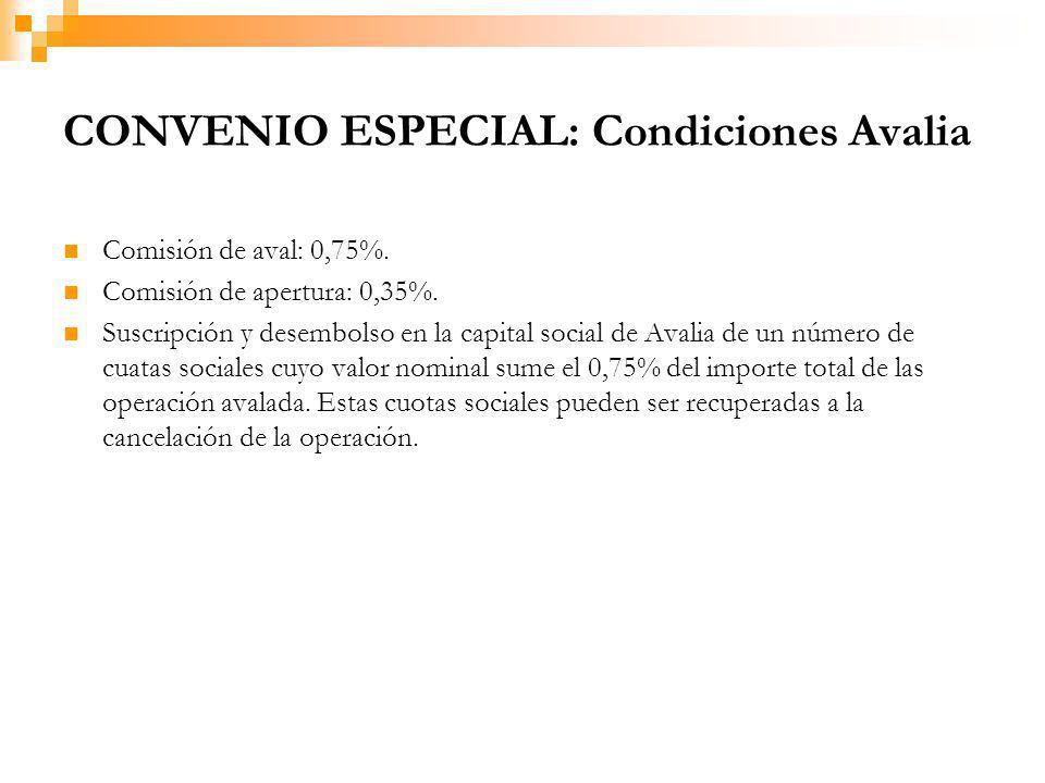 CONVENIO ESPECIAL: Condiciones Avalia Comisión de aval: 0,75%.
