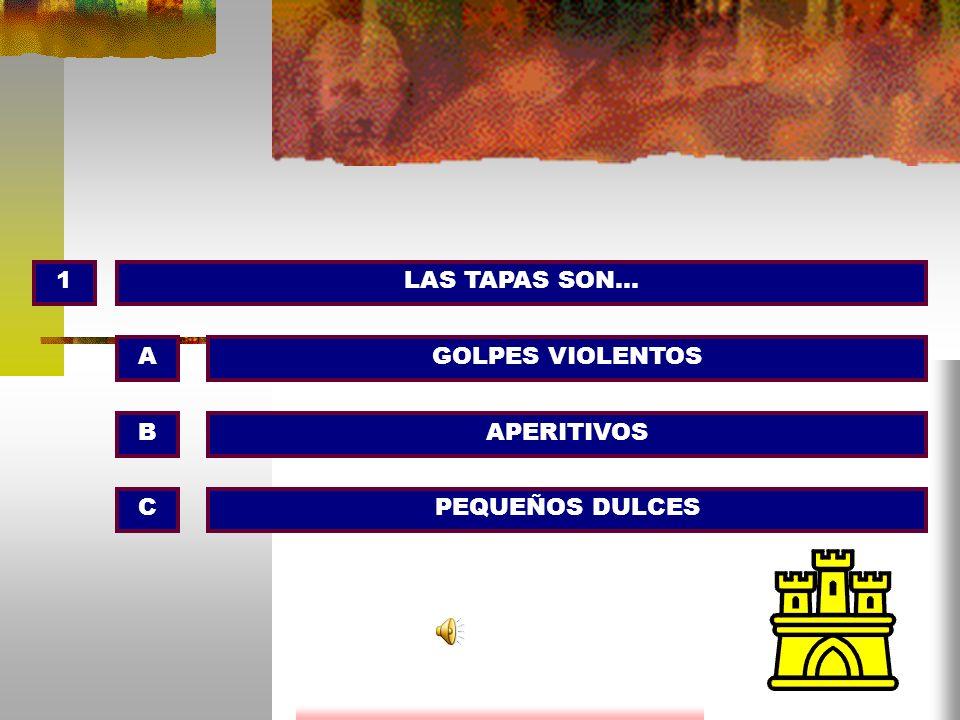 1LAS TAPAS SON… GOLPES VIOLENTOS APERITIVOS PEQUEÑOS DULCES A B C