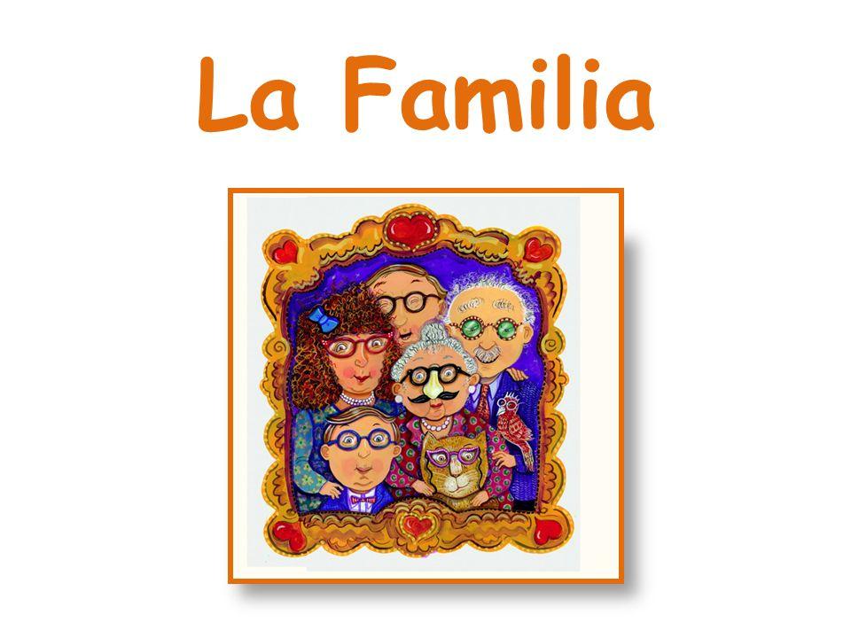 Vocabulario: El padre/ La madre/ Los padres; El hijo/ La hija/ Los hijos; El hermano/ La hermana/ Los hermanos; El abuelo/ La abuela/ Los abuelos; El nieto/ La nieta/ Los nietos; El tío/ La tía/ Los tíos; El sobrino/ La sobrina/ Los sobrinos; El primo/ La prima/ Los primos; El padrino/ La madrina/ Los padrinos; El ahijado/ La ahijada/ Los ahijados; El cuñado/ La cuñada/ Los cuñados; El suegro/ La suegra/ Los suegros; La nuera/ El yerno; El bebé;