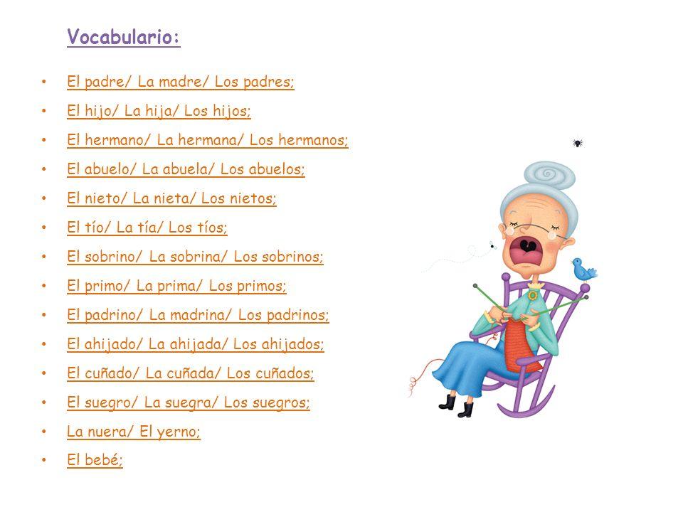 Vocabulario: El padre/ La madre/ Los padres; El hijo/ La hija/ Los hijos; El hermano/ La hermana/ Los hermanos; El abuelo/ La abuela/ Los abuelos; El