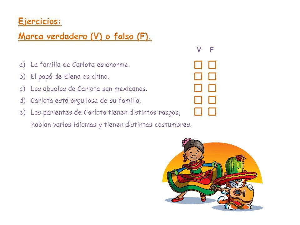 Ejercicios: Marca verdadero (V) o falso (F). V F a)La familia de Carlota es enorme. b)El papá de Elena es chino. c)Los abuelos de Carlota son mexicano