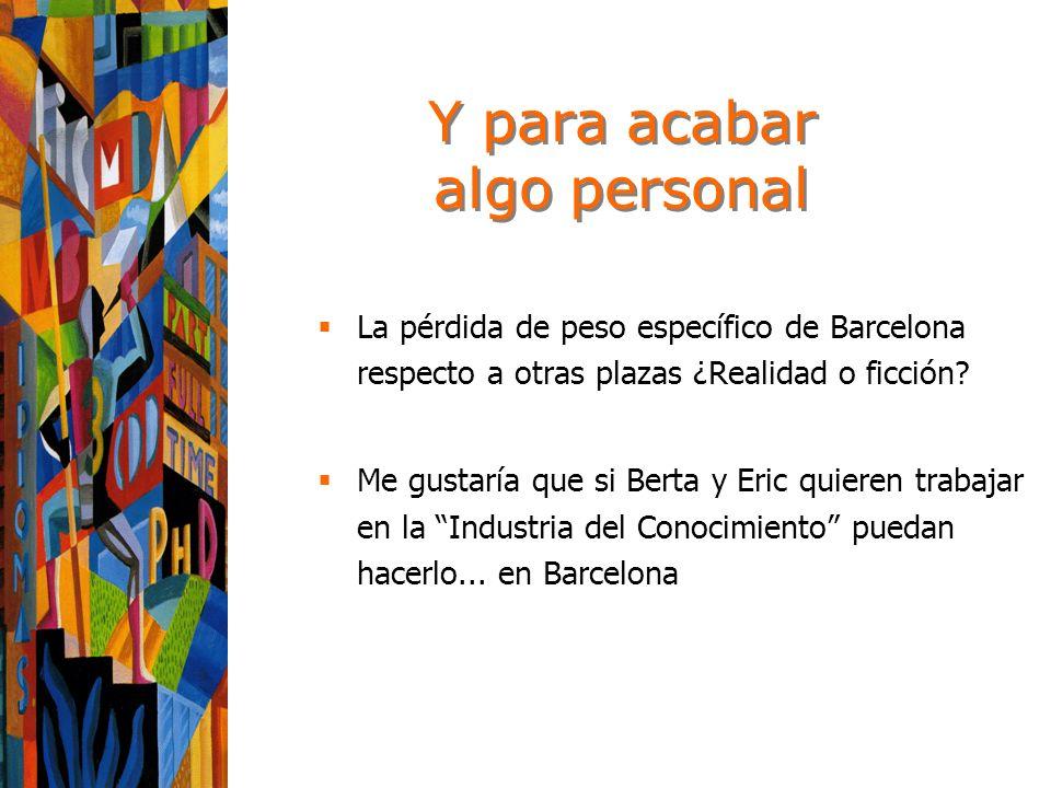Y para acabar algo personal La pérdida de peso específico de Barcelona respecto a otras plazas ¿Realidad o ficción.