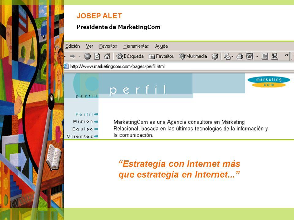 Estrategia con Internet más que estrategia en Internet... JOSEP ALET Presidente de MarketingCom