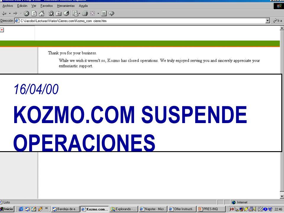16/04/00 KOZMO.COM SUSPENDE OPERACIONES