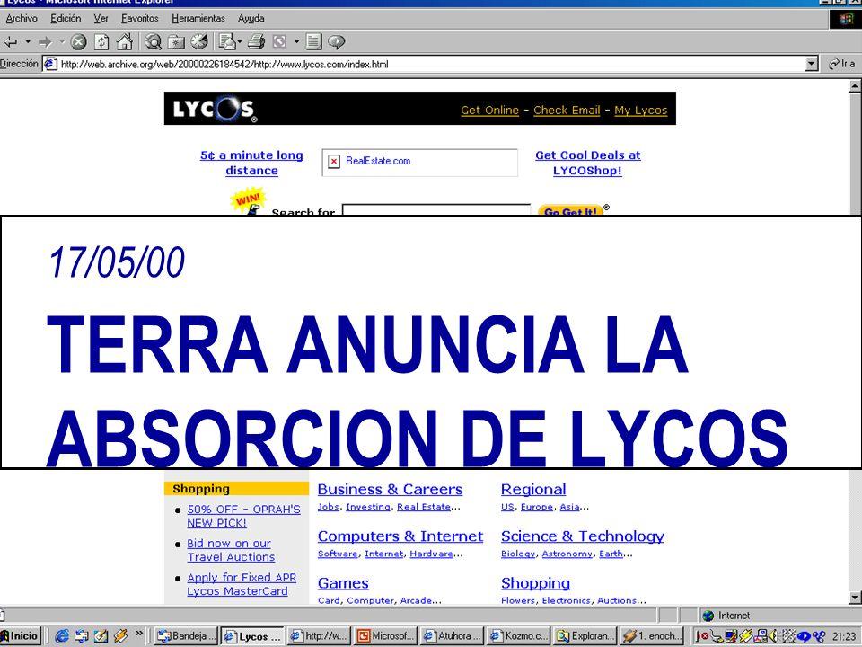 17/05/00 TERRA ANUNCIA LA ABSORCION DE LYCOS