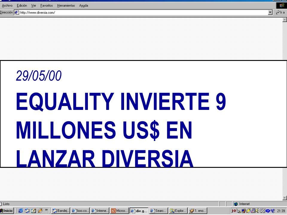 29/05/00 EQUALITY INVIERTE 9 MILLONES US$ EN LANZAR DIVERSIA