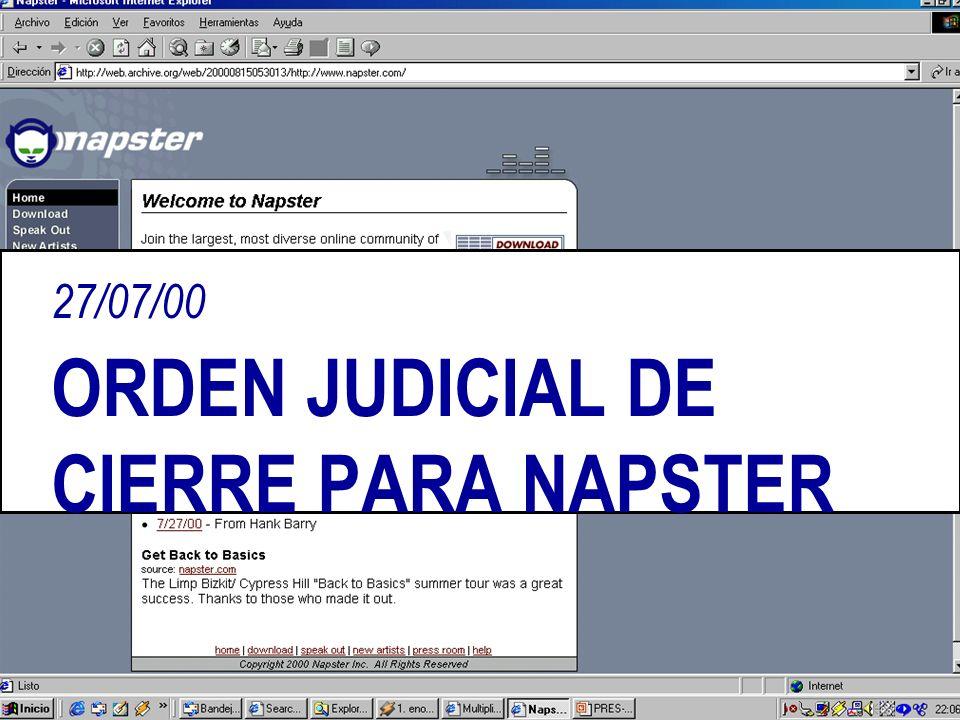 27/07/00 ORDEN JUDICIAL DE CIERRE PARA NAPSTER