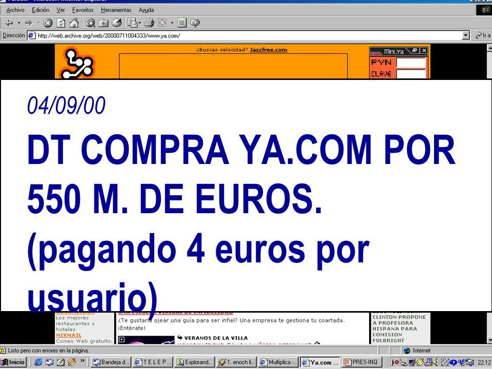 04/09/00 DT COMPRA YA.COM POR 550 M. DE EUROS. (pagando 4 euros por usuario)