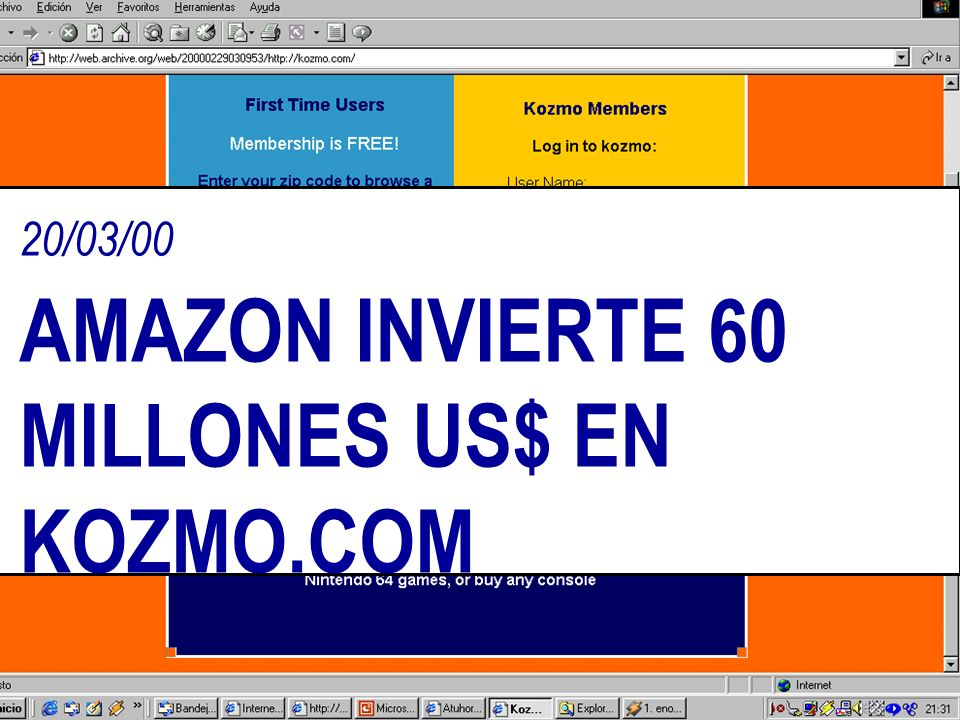 20/03/00 AMAZON INVIERTE 60 MILLONES US$ EN KOZMO.COM