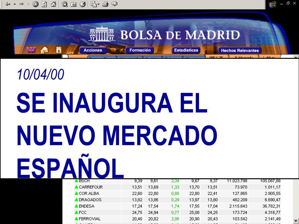 10/04/00 SE INAUGURA EL NUEVO MERCADO ESPAÑOL