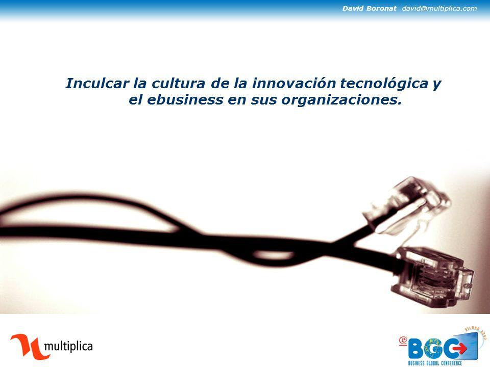 David Boronat david@multiplica.com Inculcar la cultura de la innovación tecnológica y el ebusiness en sus organizaciones.
