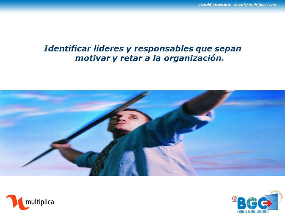 David Boronat david@multiplica.com Identificar líderes y responsables que sepan motivar y retar a la organización.