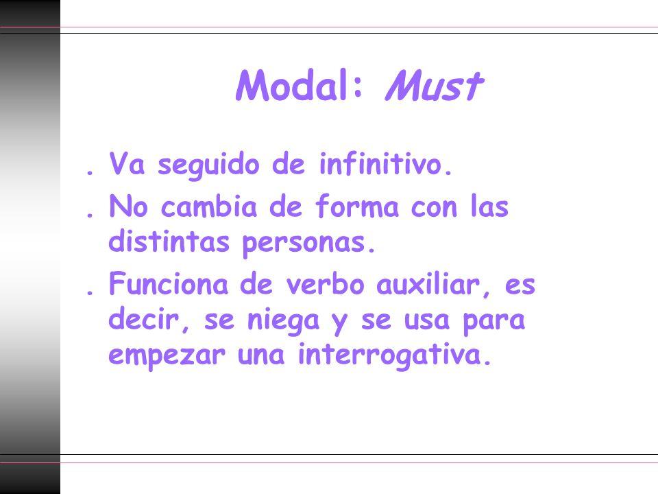 Modal: Must. Va seguido de infinitivo.. No cambia de forma con las distintas personas.. Funciona de verbo auxiliar, es decir, se niega y se usa para e