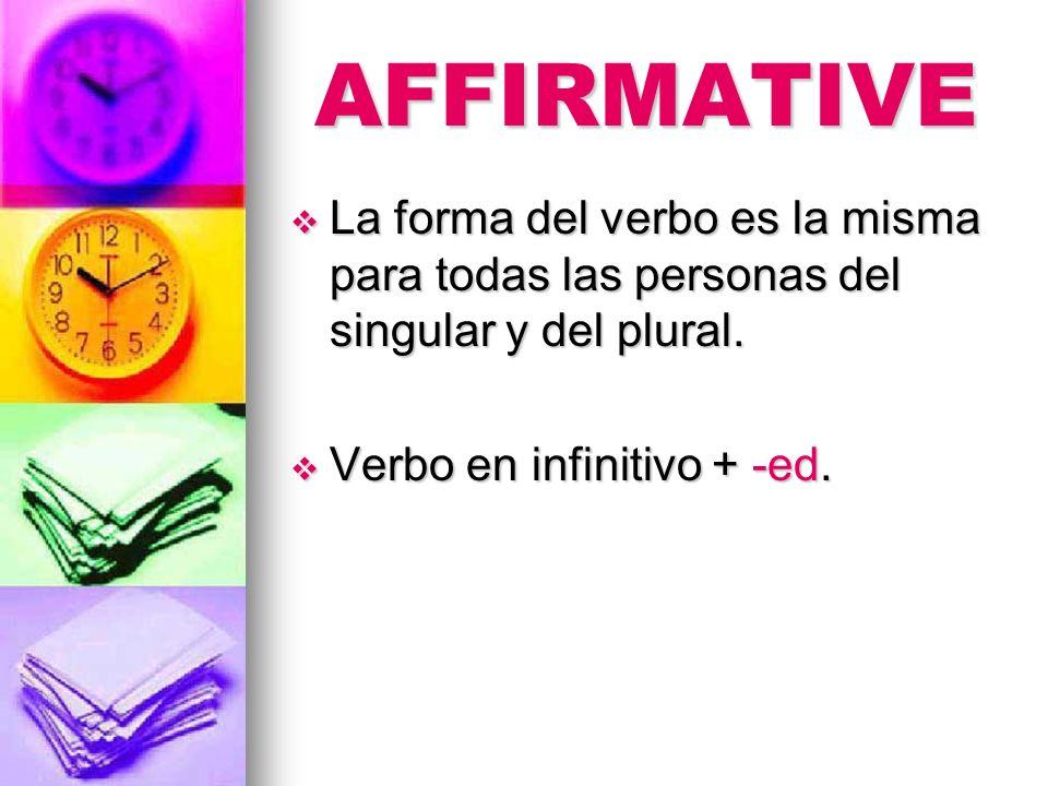 AFFIRMATIVE La forma del verbo es la misma para todas las personas del singular y del plural. La forma del verbo es la misma para todas las personas d