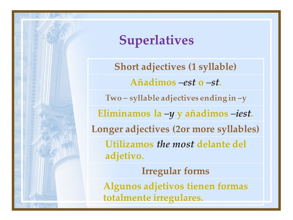 Superlatives Short adjectives (1 syllable) Añadimos –est o –st. Two – syllable adjectives ending in –y Eliminamos la –y y añadimos –iest. Longer adjec