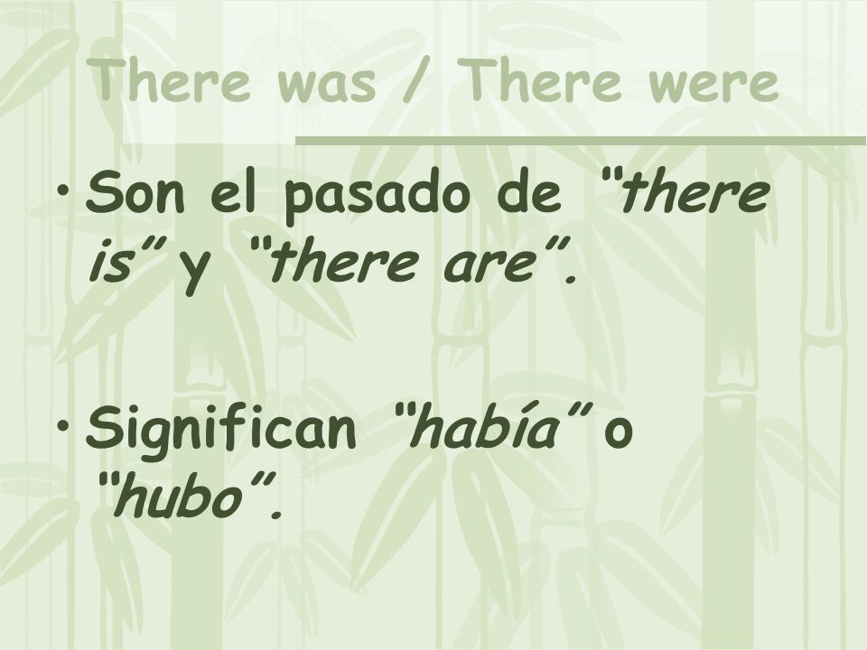 There was / There were Son el pasado de there is y there are. Significan había o hubo.