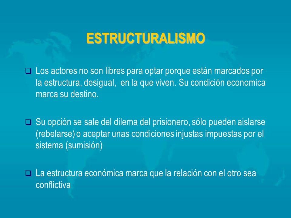 ESTRUCTURALISMO Los actores no son libres para optar porque están marcados por la estructura, desigual, en la que viven. Su condición economica marca
