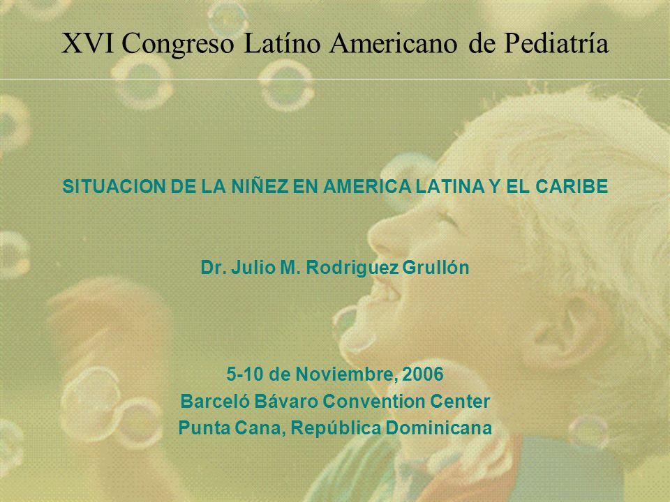 XVI Congreso Latíno Americano de Pediatría SITUACION DE LA NIÑEZ EN AMERICA LATINA Y EL CARIBE Dr.