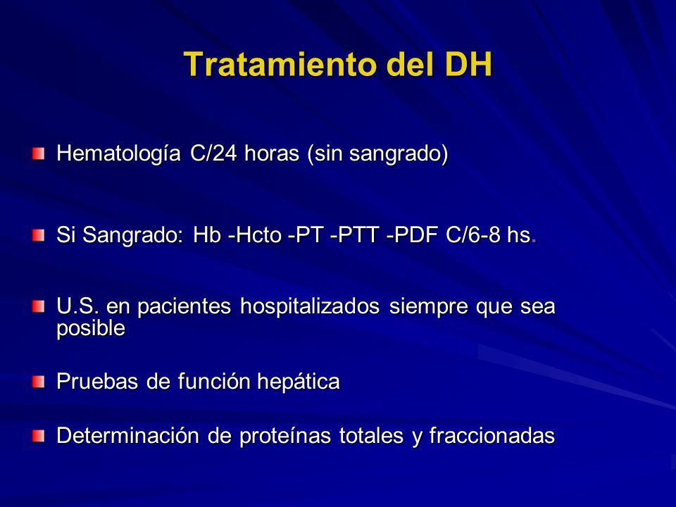 Tratamiento del DH Hematología C/24 horas (sin sangrado) Si Sangrado: Hb -Hcto -PT -PTT -PDF C/6-8 hs. U.S. en pacientes hospitalizados siempre que se
