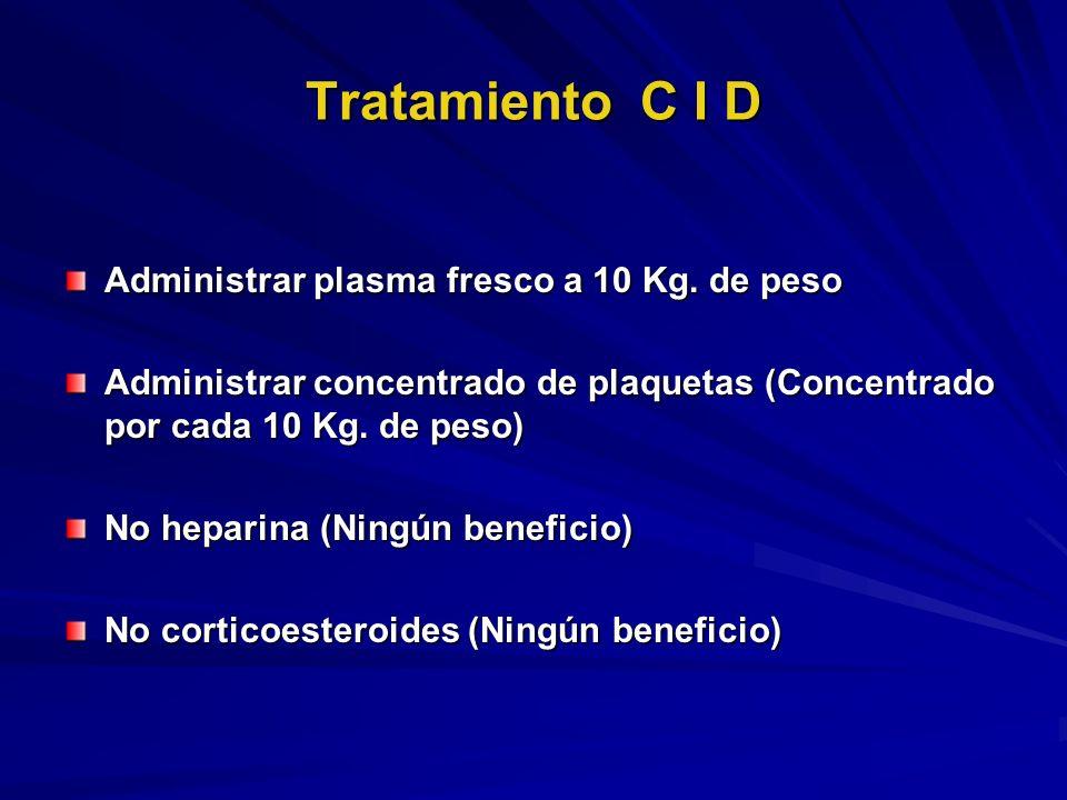 Tratamiento C I D Administrar plasma fresco a 10 Kg. de peso Administrar concentrado de plaquetas (Concentrado por cada 10 Kg. de peso) No heparina (N