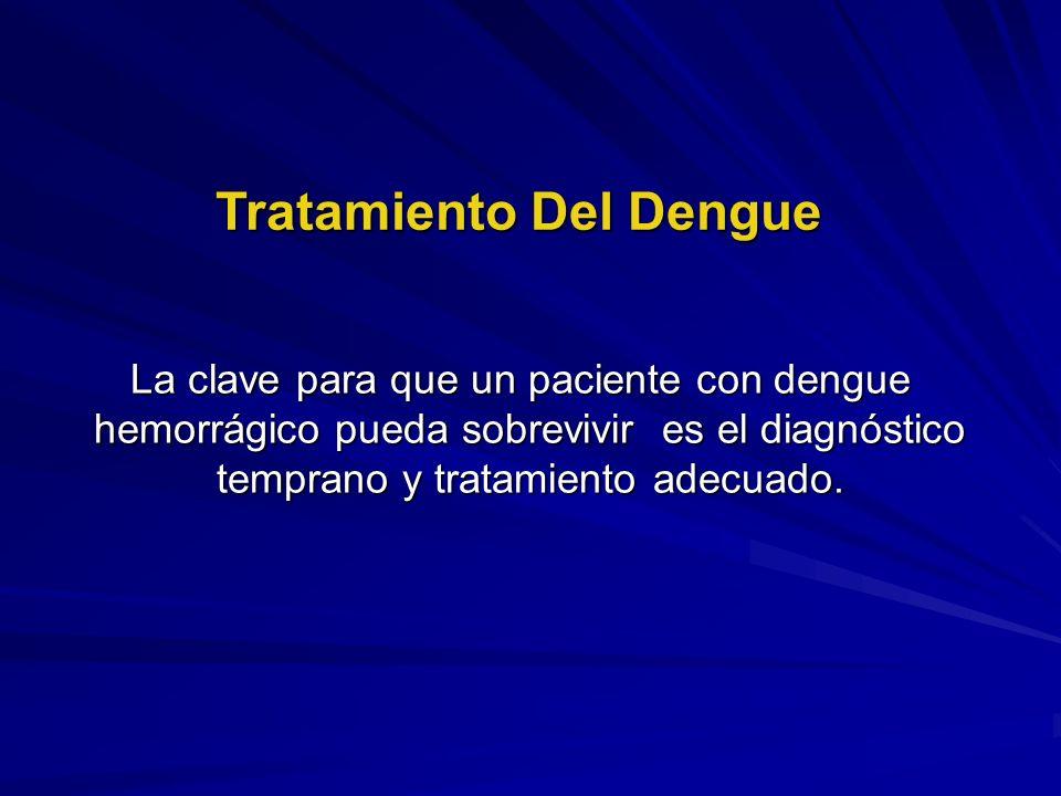 La clave para que un paciente con dengue hemorrágico pueda sobrevivir es el diagnóstico temprano y tratamiento adecuado. Tratamiento Del Dengue