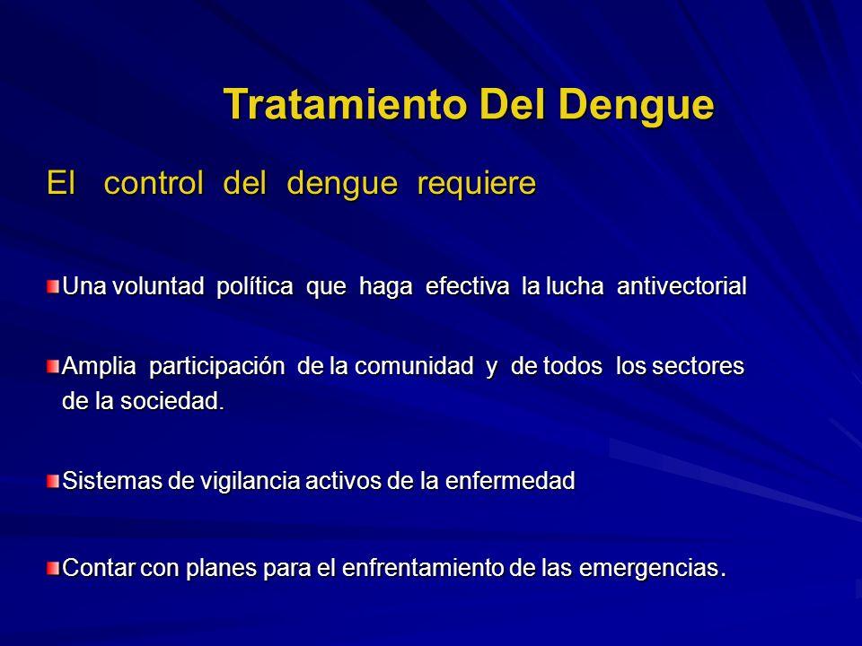 El control del dengue requiere Una voluntad política que haga efectiva la lucha antivectorial Amplia participación de la comunidad y de todos los sect