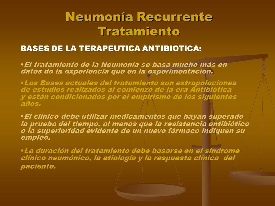 Neumonía Recurrente Tratamiento DIRIGIDO A LA CAUSA BASICA ANTIBIOTICOS TERAPIA RESPIRATORIA