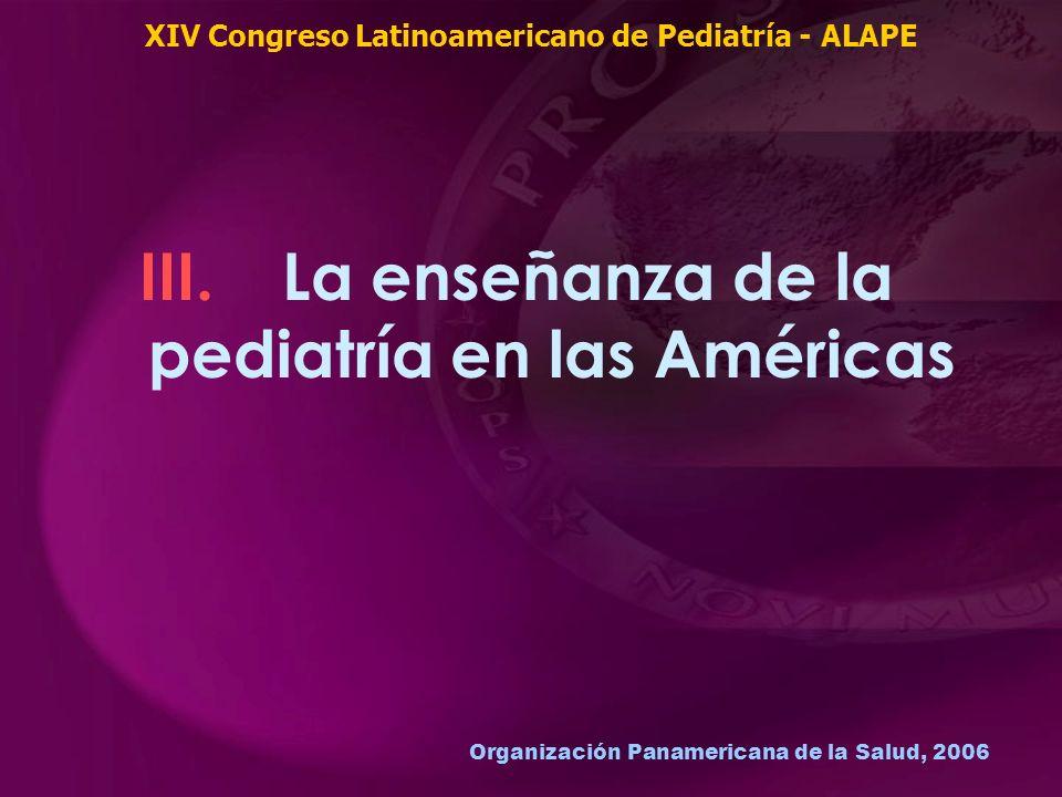 Organización Panamericana de la Salud, 2006 III. La enseñanza de la pediatría en las Américas XIV Congreso Latinoamericano de Pediatría - ALAPE