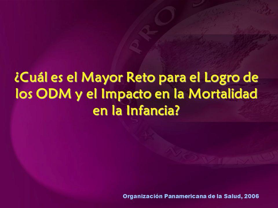 Organización Panamericana de la Salud, 2006 ¿Cuál es el Mayor Reto para el Logro de los ODM y el Impacto en la Mortalidad en la Infancia?