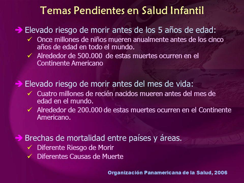 Organización Panamericana de la Salud, 2006 Temas Pendientes en Salud Infantil Elevado riesgo de morir antes de los 5 años de edad: Once millones de niños mueren anualmente antes de los cinco años de edad en todo el mundo.