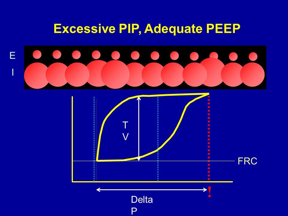 Excessive PIP, Adequate PEEP ! Delta P TVTV FRC E I