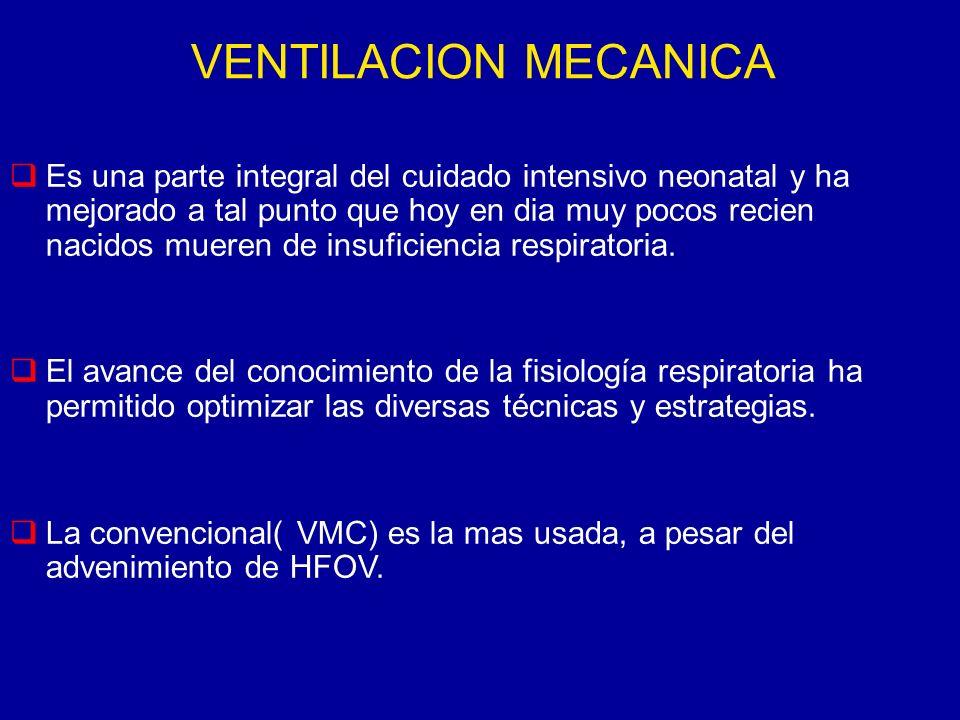 VENTILACION MECANICA Es una parte integral del cuidado intensivo neonatal y ha mejorado a tal punto que hoy en dia muy pocos recien nacidos mueren de