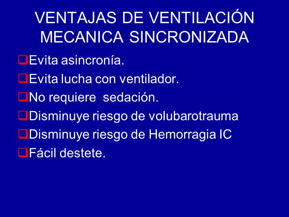 VENTAJAS DE VENTILACIÓN MECANICA SINCRONIZADA Evita asincronía. Evita lucha con ventilador. No requiere sedación. Disminuye riesgo de volubarotrauma D