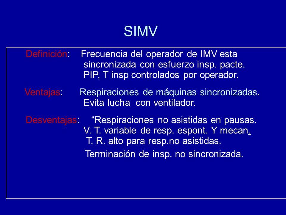 SIMV Definición: Frecuencia del operador de IMV esta sincronizada con esfuerzo insp. pacte. PIP, T insp controlados por operador. Ventajas: Respiracio