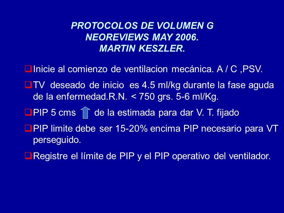 PROTOCOLOS DE VOLUMEN G NEOREVIEWS MAY 2006. MARTIN KESZLER. Inicie al comienzo de ventilacion mecánica. A / C,PSV. TV deseado de inicio es 4.5 ml/kg