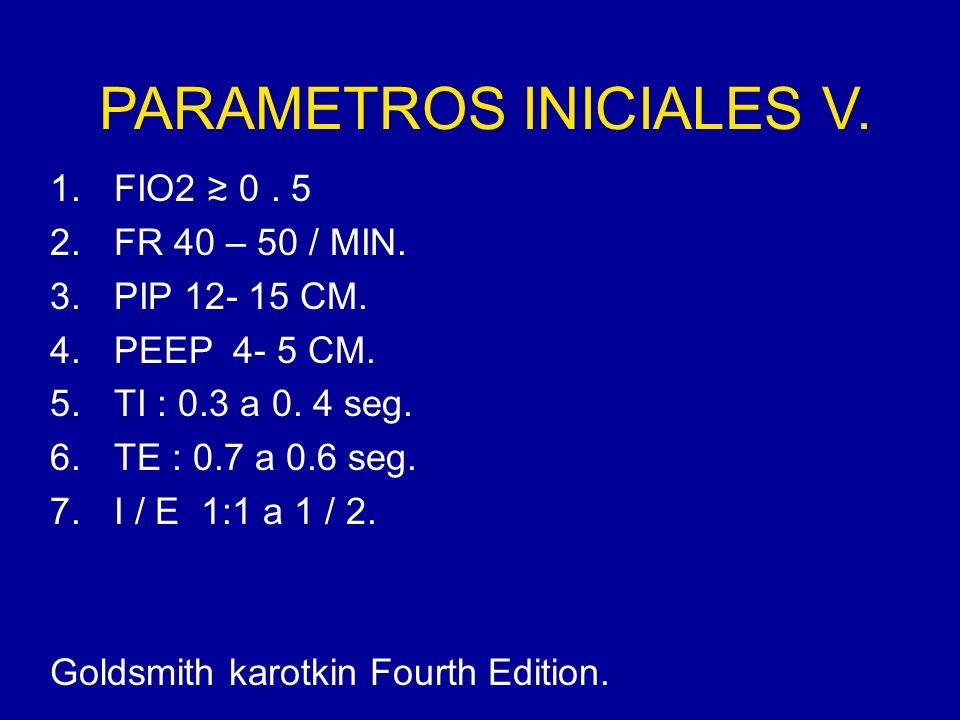 PARAMETROS INICIALES V. 1.FIO2 0. 5 2.FR 40 – 50 / MIN. 3.PIP 12- 15 CM. 4.PEEP 4- 5 CM. 5.TI : 0.3 a 0. 4 seg. 6.TE : 0.7 a 0.6 seg. 7.I / E 1:1 a 1