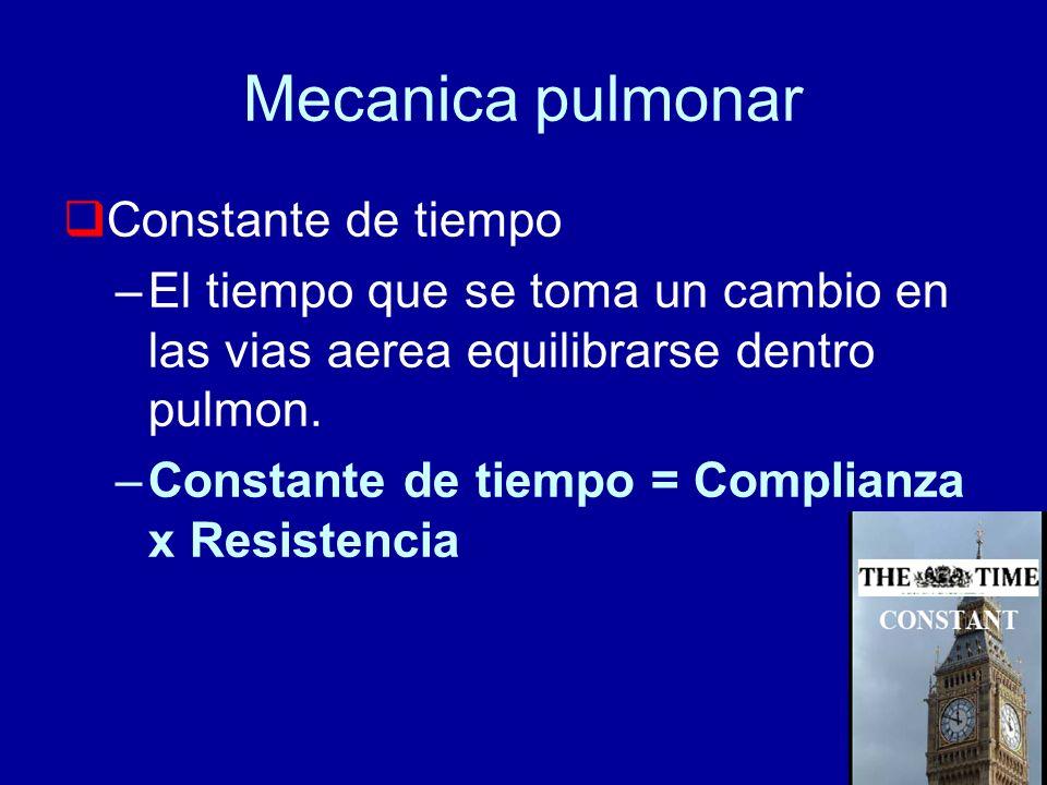 Mecanica pulmonar Constante de tiempo –El tiempo que se toma un cambio en las vias aerea equilibrarse dentro pulmon. –Constante de tiempo = Complianza