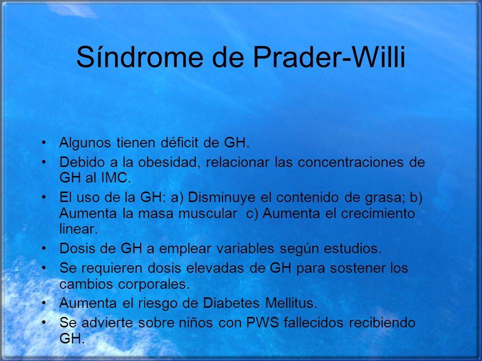 Síndrome de Prader-Willi Algunos tienen déficit de GH. Debido a la obesidad, relacionar las concentraciones de GH al IMC. El uso de la GH: a) Disminuy