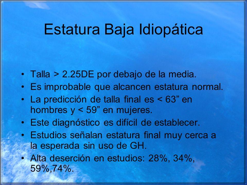 Estatura Baja Idiopática Talla > 2.25DE por debajo de la media. Es improbable que alcancen estatura normal. La predicción de talla final es < 63 en ho
