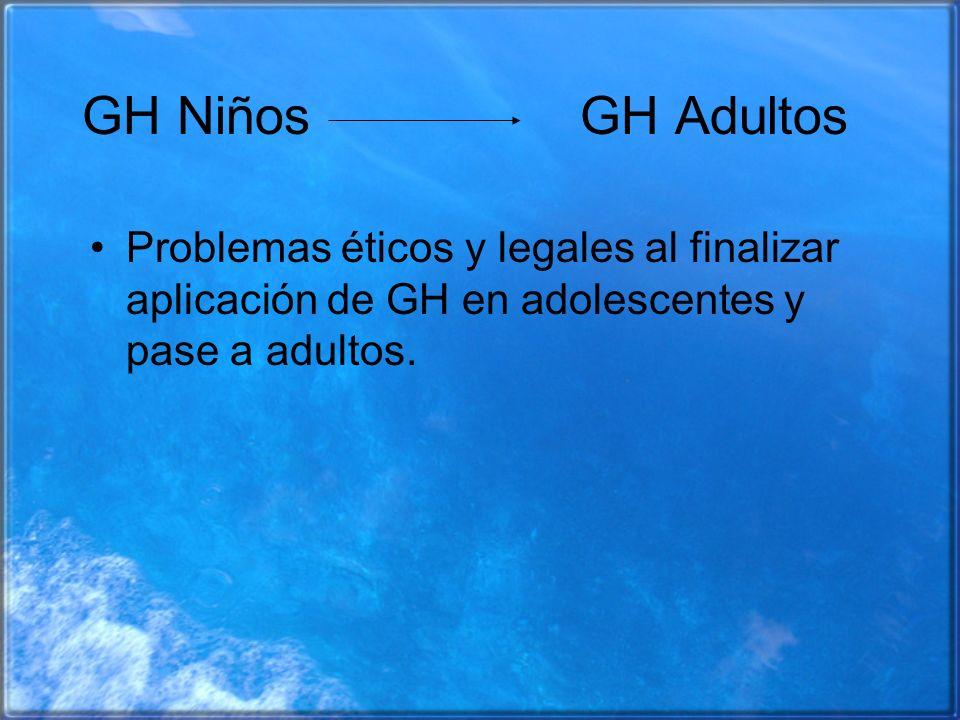 GH Niños GH Adultos Problemas éticos y legales al finalizar aplicación de GH en adolescentes y pase a adultos.