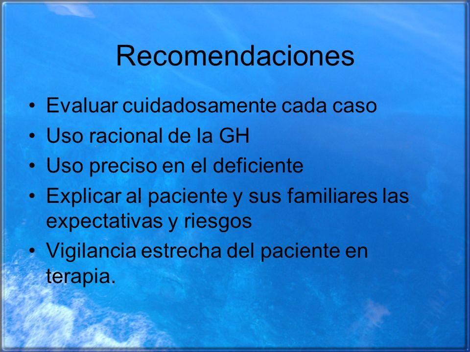 Recomendaciones Evaluar cuidadosamente cada caso Uso racional de la GH Uso preciso en el deficiente Explicar al paciente y sus familiares las expectat