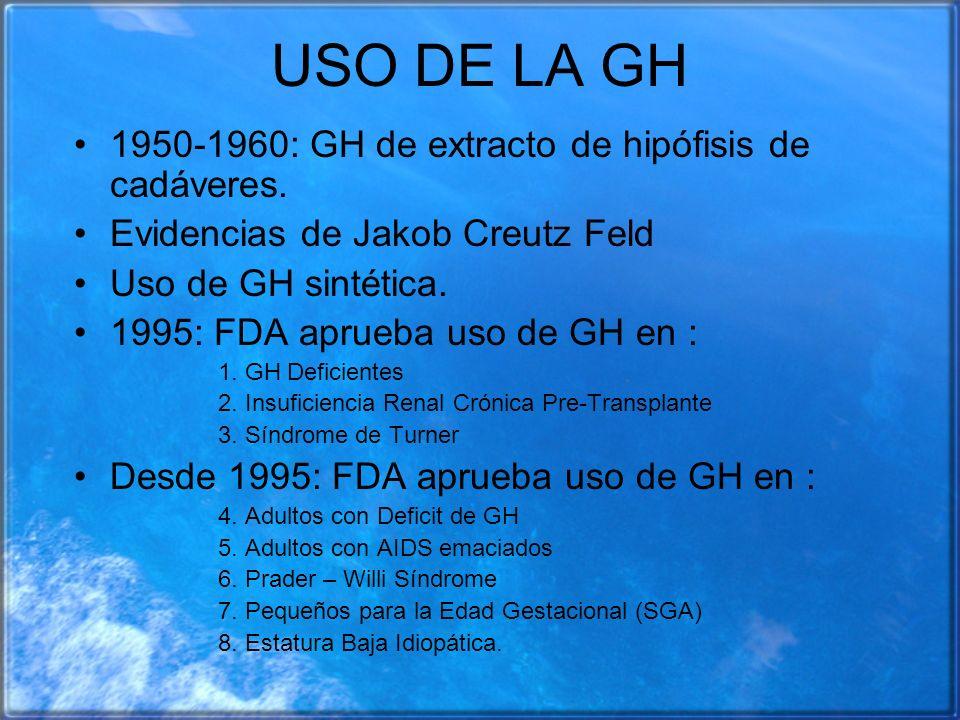 USO DE LA GH 1950-1960: GH de extracto de hipófisis de cadáveres. Evidencias de Jakob Creutz Feld Uso de GH sintética. 1995: FDA aprueba uso de GH en