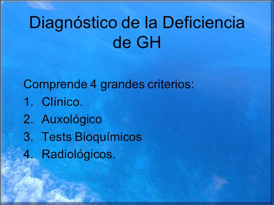 Diagnóstico de la Deficiencia de GH Comprende 4 grandes criterios: 1.Clínico. 2.Auxológico 3.Tests Bioquímicos 4.Radiológicos.
