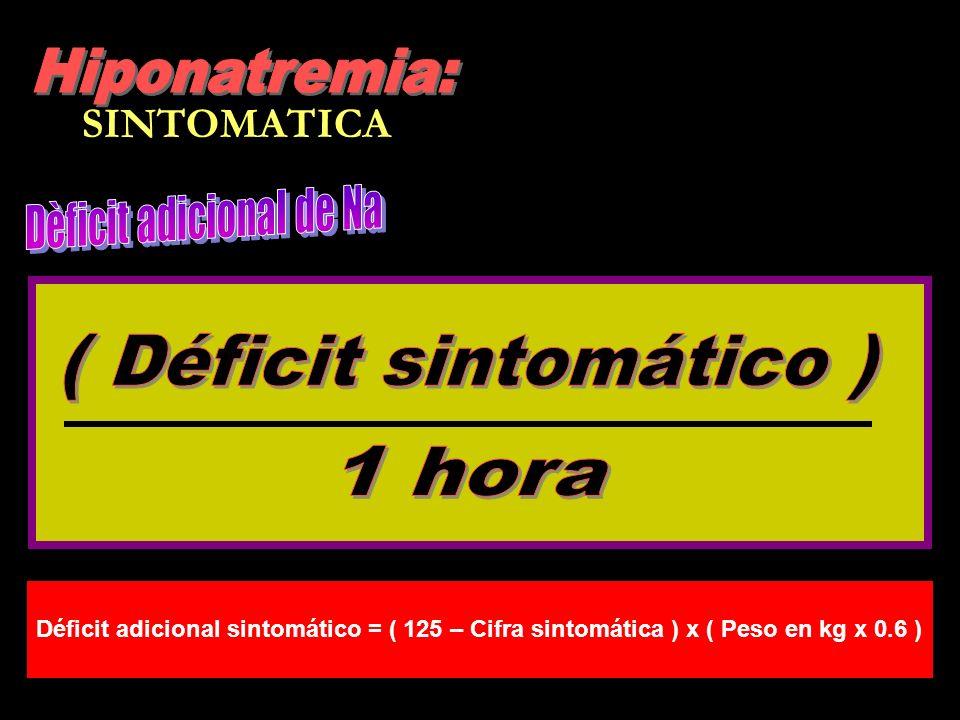 SINTOMATICA Déficit adicional sintomático = ( 125 – Cifra sintomática ) x ( Peso en kg x 0.6 )
