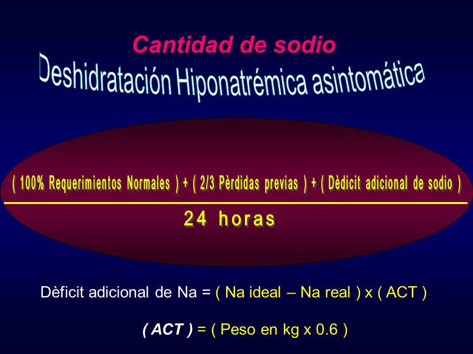 Cantidad de sodio Dèficit adicional de Na = ( Na ideal – Na real ) x ( ACT ) ( ACT ) = ( Peso en kg x 0.6 )