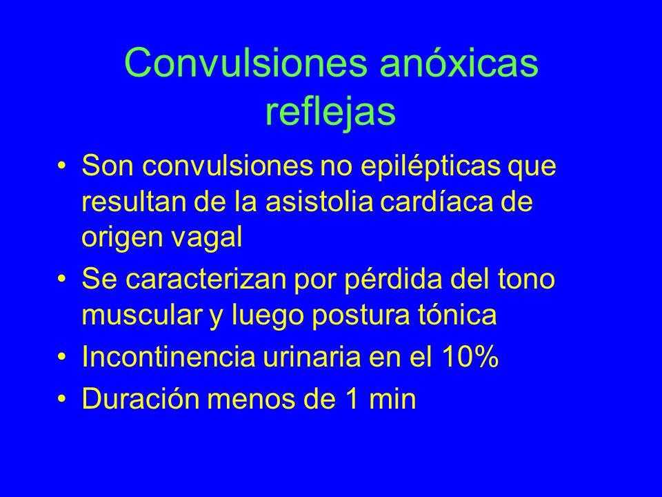 Convulsiones anóxicas reflejas Son convulsiones no epilépticas que resultan de la asistolia cardíaca de origen vagal Se caracterizan por pérdida del t