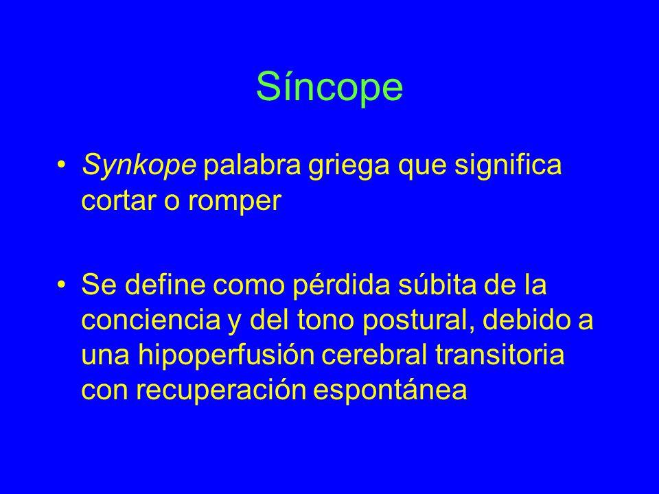 Síncope Synkope palabra griega que significa cortar o romper Se define como pérdida súbita de la conciencia y del tono postural, debido a una hipoperf