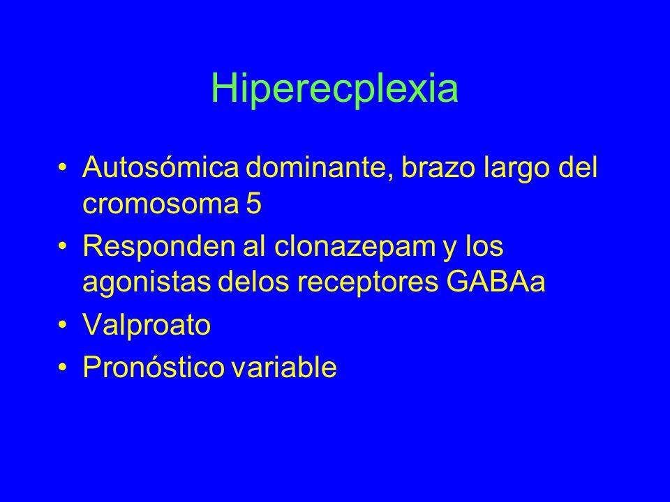 Hiperecplexia Autosómica dominante, brazo largo del cromosoma 5 Responden al clonazepam y los agonistas delos receptores GABAa Valproato Pronóstico va