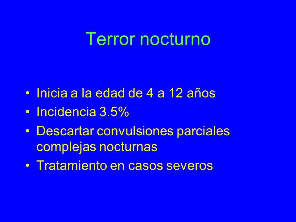 Terror nocturno Inicia a la edad de 4 a 12 años Incidencia 3.5% Descartar convulsiones parciales complejas nocturnas Tratamiento en casos severos